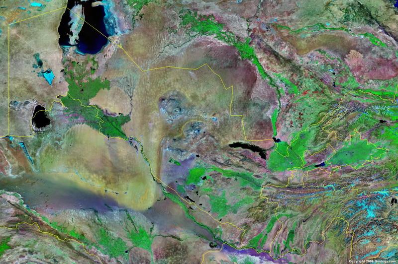 карта узбекистана со спутника